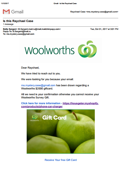 spam email from woolworths