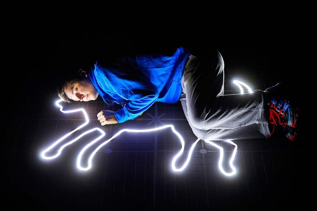 Joshua Jenkins as Christopher Boone in The Curious Incident of the Dog in The Night-Time – photo by Brinkhoff / Mögenburg
